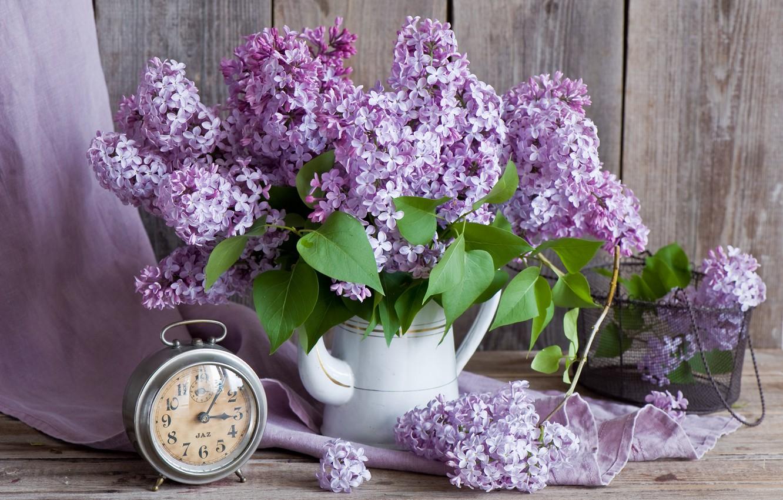 Photo wallpaper watch, bouquet, alarm clock, lilac