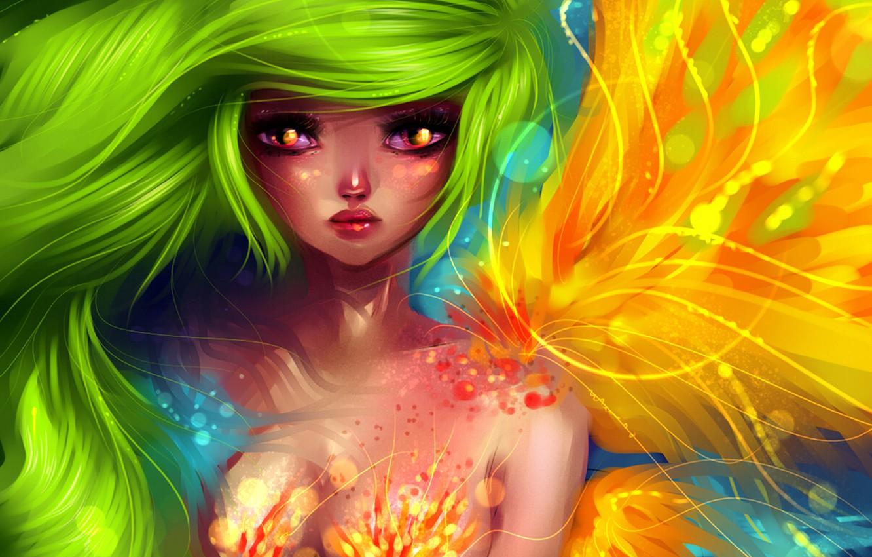 Photo wallpaper mermaid, green hair, art, ryky