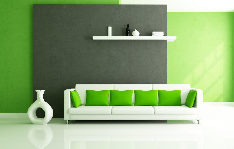 Photo wallpaper white, design, green, style, sofa, interior, pillow, shelf