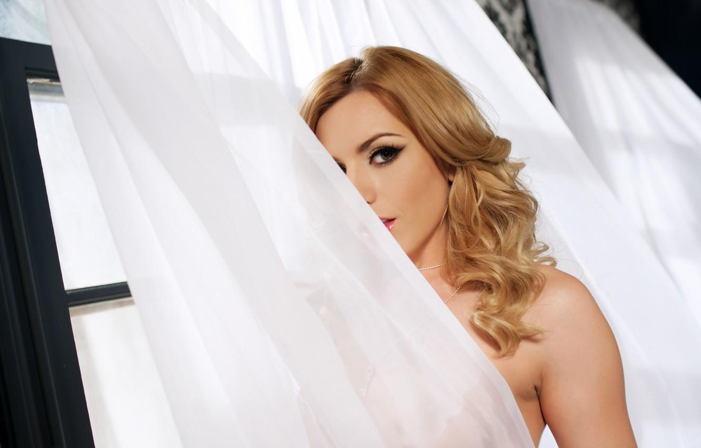 Photo wallpaper look, window, blonde, curtain, Lexi Belle