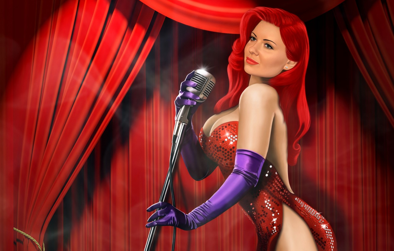 Photo wallpaper girl, scene, microphone, in red, Jessica Rabbit, danliz