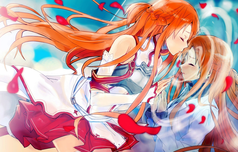 Photo wallpaper kiss, petals, Sword art online, Sword Art Online, Asuna Yuuki, through the looking glass