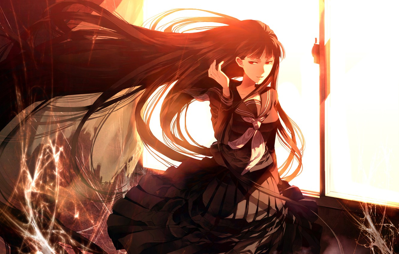 Photo wallpaper light, sunset, the wind, web, window, schoolgirl, red eyes, Atlach-Nacha, Hirasaka Hatsune