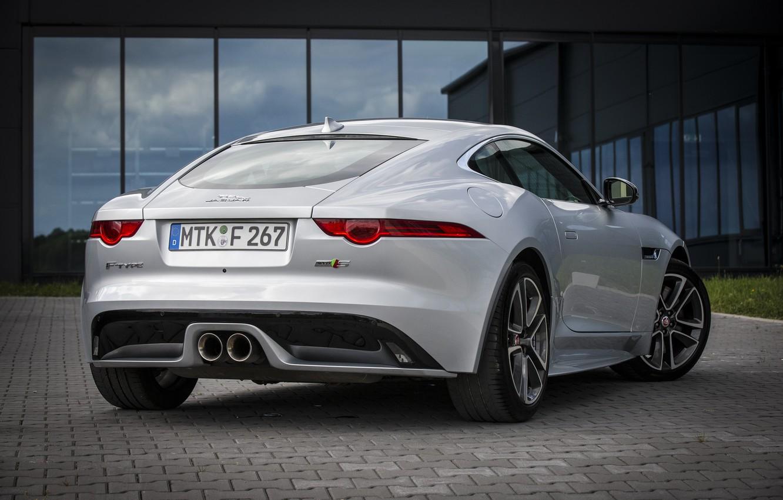 Photo wallpaper reflection, Jaguar, garage, Parking, rear view, F-Type S, Coupe AWD