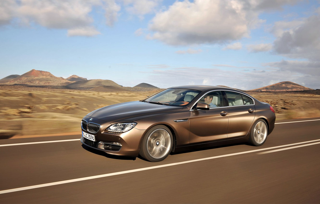 Photo wallpaper The sky, Auto, Road, BMW, Machine, Boomer, BMW, Day, Driver, 6 Series, Side view