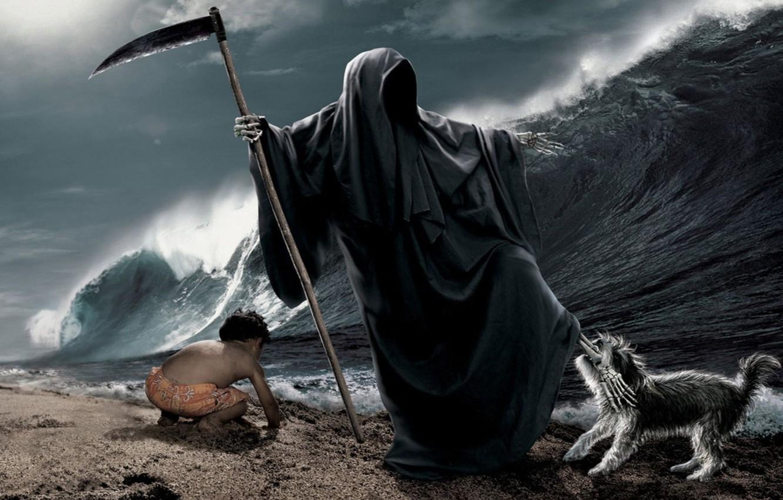 Photo wallpaper sea, wave, beach, death, child, dog, bones, braid, leg