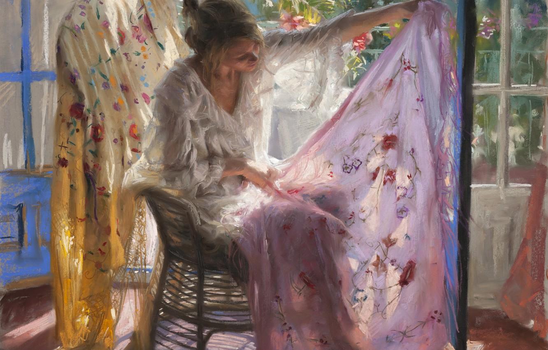 Photo wallpaper leaves, girl, light, room, picture, window, art, fabric, shawl, Vicente Romero