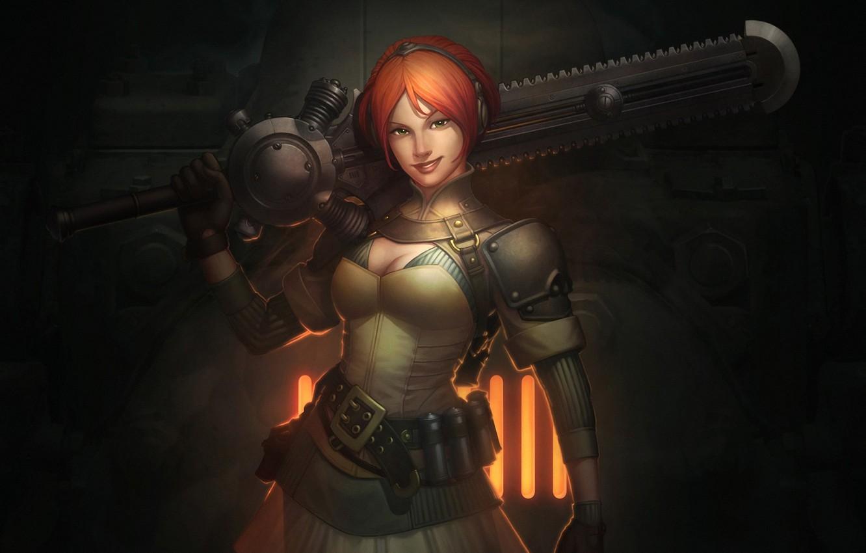 Photo wallpaper girl, smile, fire, sword, grille, art, red