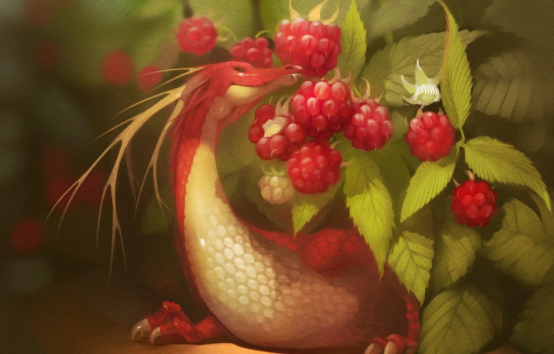 Photo wallpaper red, berries, raspberry, dragon, art