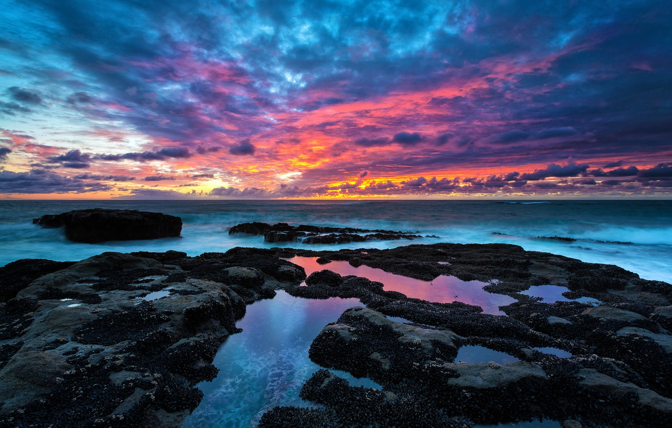 Photo wallpaper the sky, water, clouds, stones, horizon, Shore