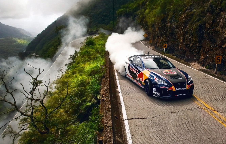 Photo wallpaper road, machine, smoke, dust, drift, Hyundai, Brazil, Red Bull Drifting Extreme