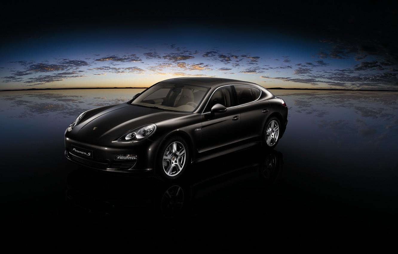 Photo wallpaper clouds, black, Porsche