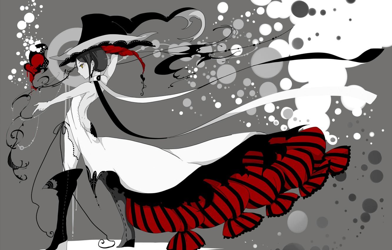 Photo wallpaper girl, style, hat, anime, dress, ink, art, Bati15