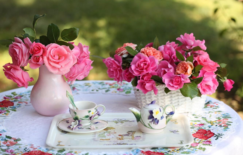 Photo wallpaper roses, kettle, Cup, tray, © Elena Di Guardo
