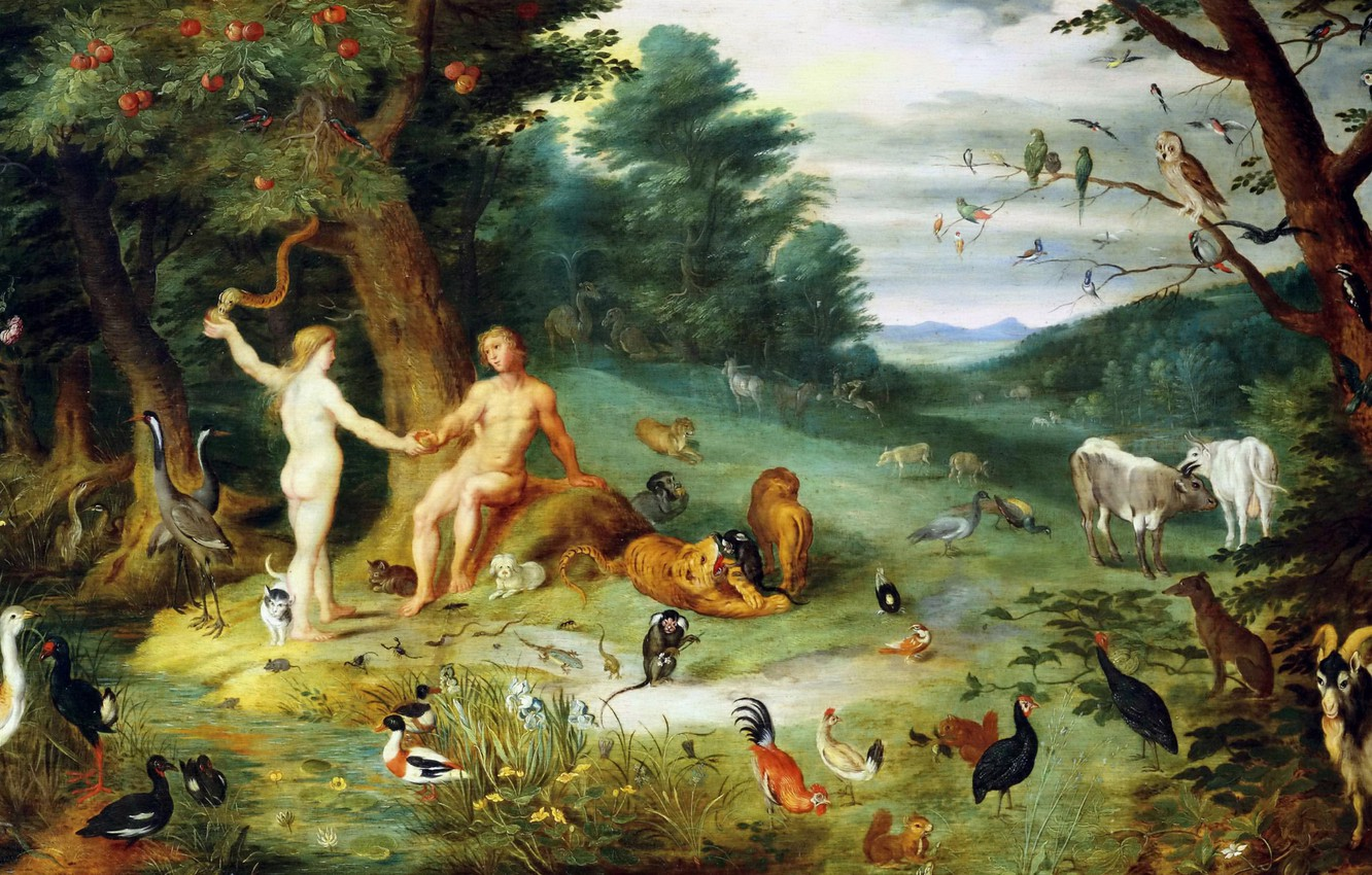 Photo wallpaper Paradise, picture, mythology, Jan Brueghel the younger, The Temptation Of Adam