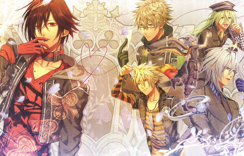 Photo wallpaper petals, ring, horns, guys, vegetables, Amnesia, Shin, Orion, Amnesia, Kent, Toma, Ikki