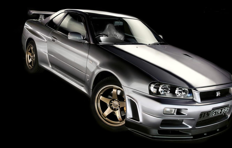 Photo wallpaper silver, Nissan, GT-R, black background, Nissan, Skyline, R34, skyline, silvery