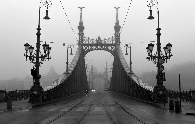 Photo wallpaper road, machine, bridge, fog, lights, motorcycle, car, Budapest
