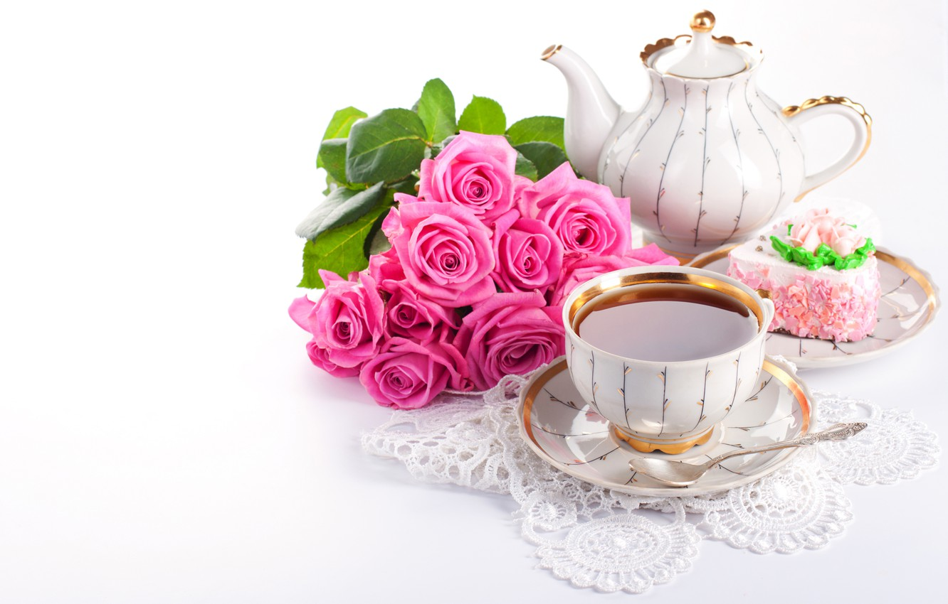 Photo wallpaper flowers, tea, the sweetness, roses, bouquet, kettle, Cup, drink, cake, lace, dessert, napkin