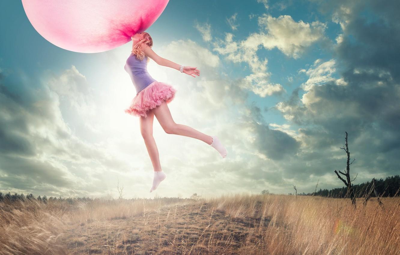 Photo wallpaper girl, ball, flight, bubble, chewing gum