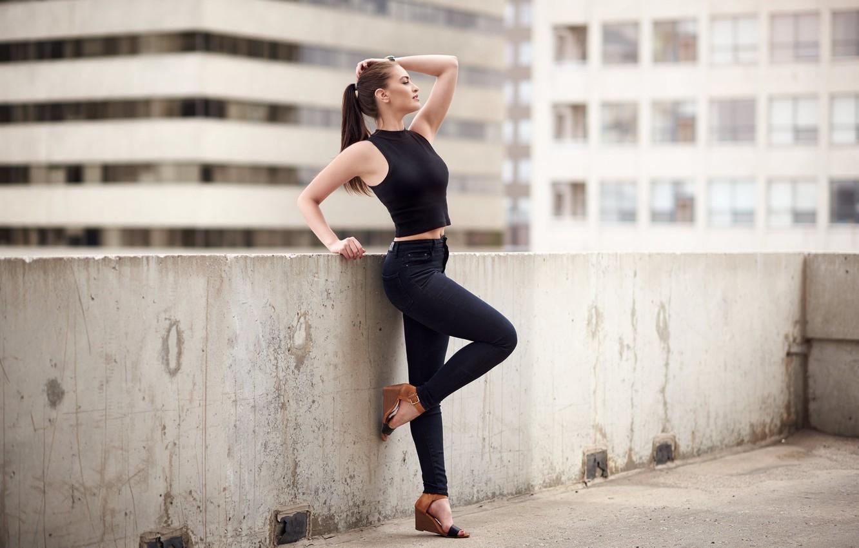 Photo wallpaper girl, face, background, jeans, figure, slim, Sierra