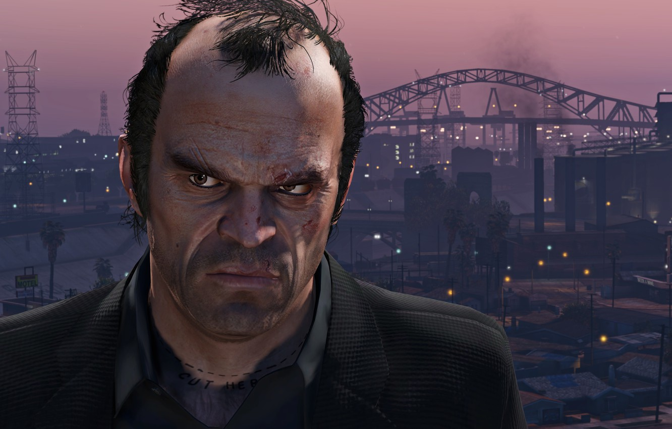 Photo wallpaper City, Sunset, Face, Grand Theft Auto V, GTA V, Philips, Trevor, The Saints