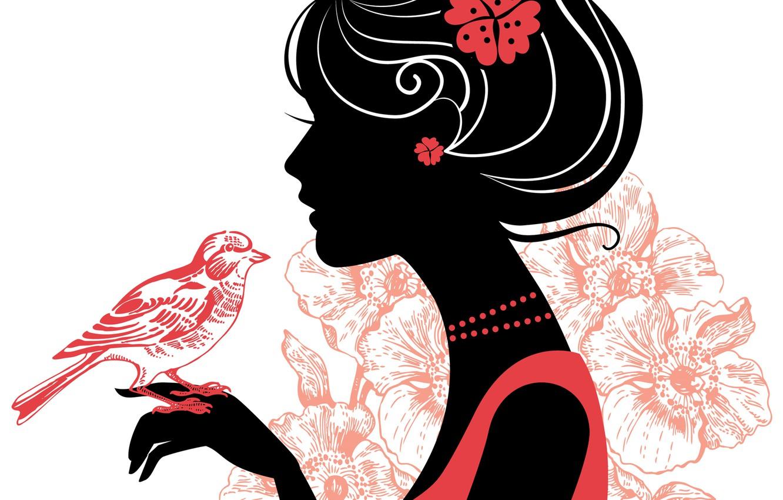 Photo wallpaper flower, girl, decoration, eyelashes, style, hair, hand, silhouette, beads, profile, bird
