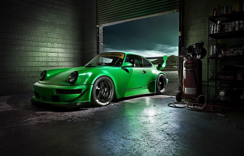 Photo wallpaper Green, Machine, Desktop, Garage, Car, Porsche, Car, Beautiful, Green, Carrera, Wallpapers, Beautiful, 993, Wallpaper, The …