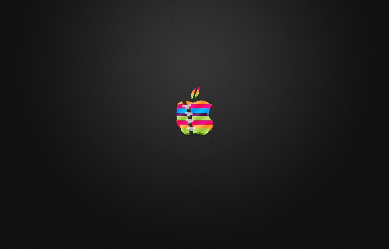 Photo wallpaper apple, logo, color, cut, glued, Scotch