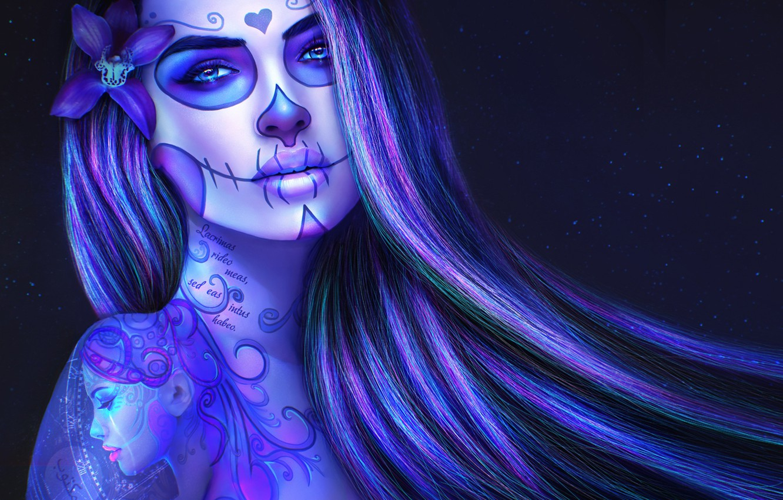 Photo wallpaper girl, hair, skull, tattoo, art, day of the dead, sugar skull, skull girl