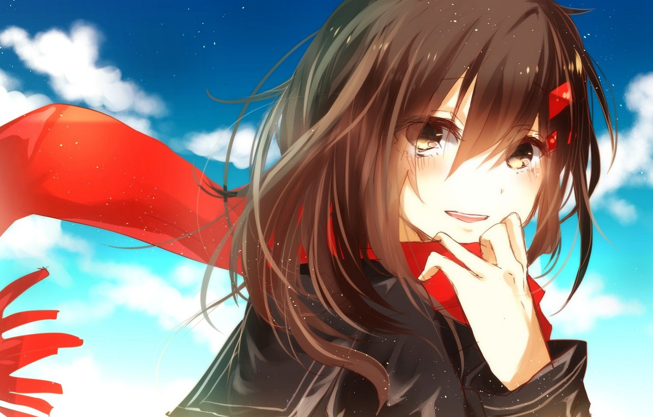 Wallpaper The Sky Girl Clouds Joy Anime Scarf Tears Art