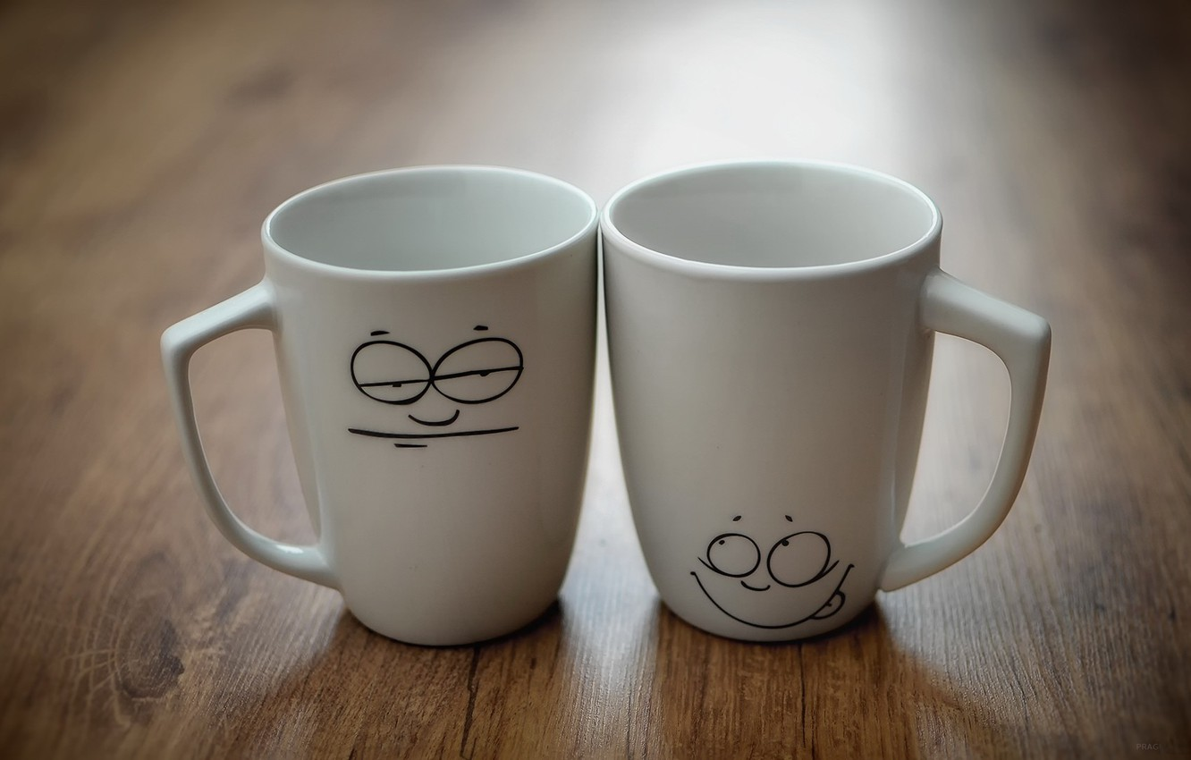 Photo wallpaper mood, two, Cup, mugs, faces, 1920x1080