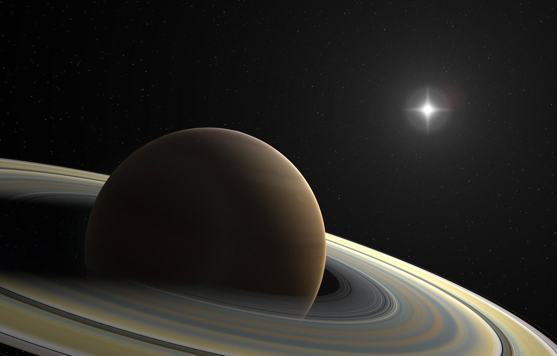Photo wallpaper star, planet, ring, stars, Saturn