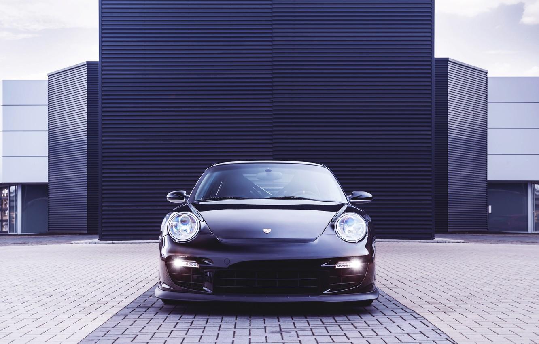 Photo wallpaper Auto, Black, 911, Porsche, Machine, The hood, The building, Lights, Porsche, GT2, The front, Sports …