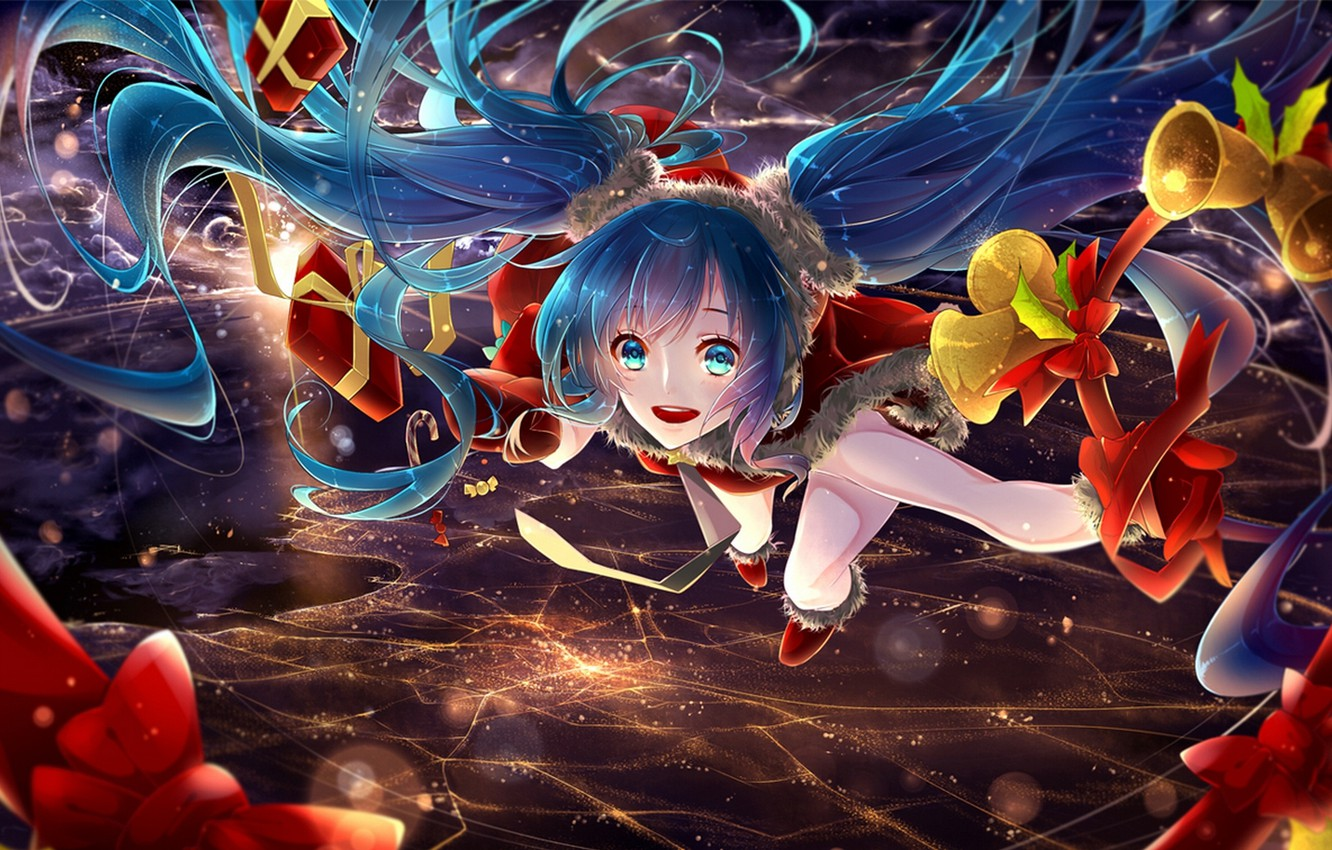 Photo wallpaper the sky, girl, clouds, flight, the city, lights, holiday, new year, home, Christmas, anime, art, …
