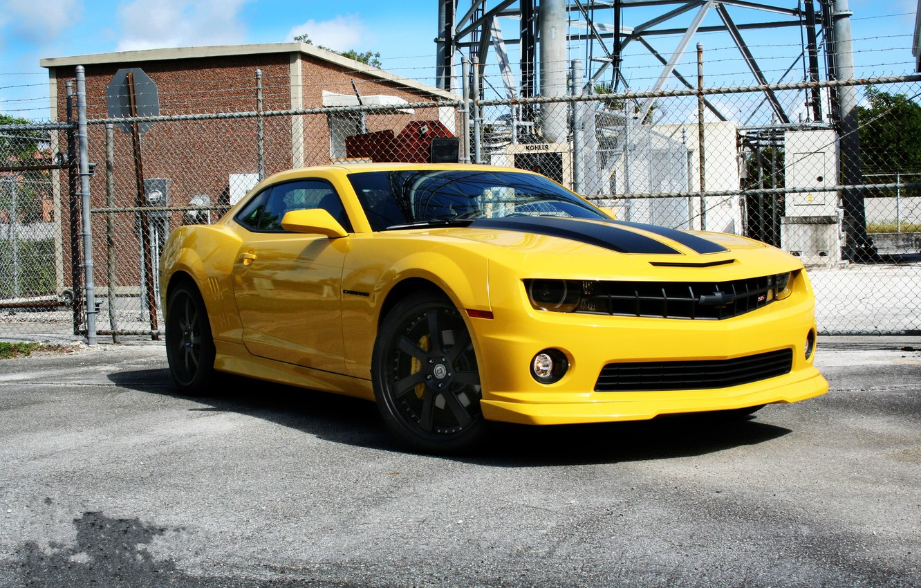 Photo wallpaper the sky, clouds, yellow, the fence, tower, truck, wheels, Chevrolet, chevrolet, yellow, camaro ss, Camaro …