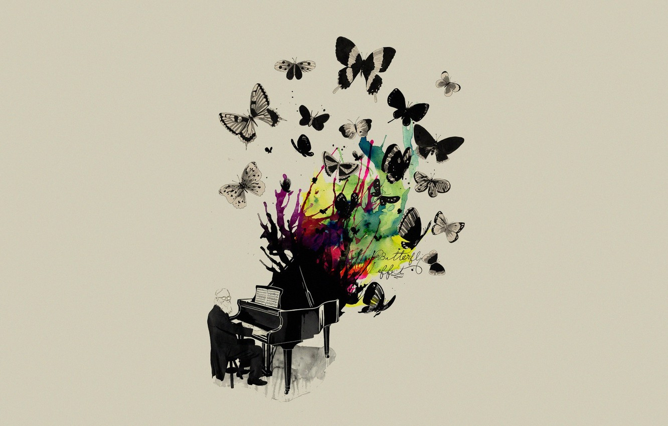 Photo wallpaper Music, Butterfly, Music, Musician, Piano, Mathiole, Matheus Lopes Castro, Plan, Butterflys, Musician