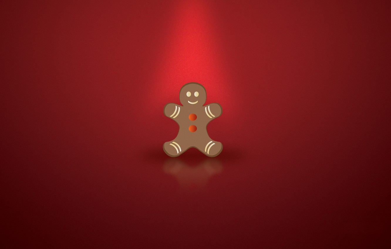 Photo wallpaper new year, Christmas, red background, gingerbread, christmas-cookie, the gingerbread man