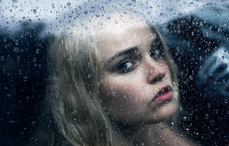 Photo wallpaper glass, girl, drops, Michael Farber, Broken Over You