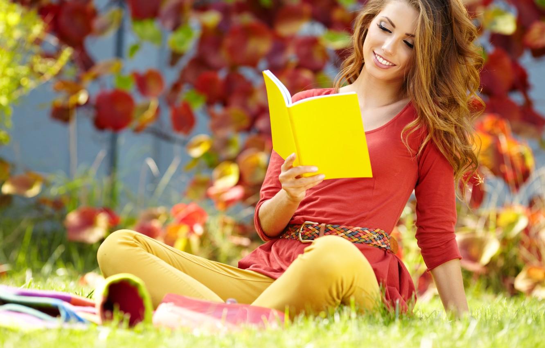 Photo wallpaper autumn, grass, leaves, girl, book, brown hair, notebook, yellow, reads