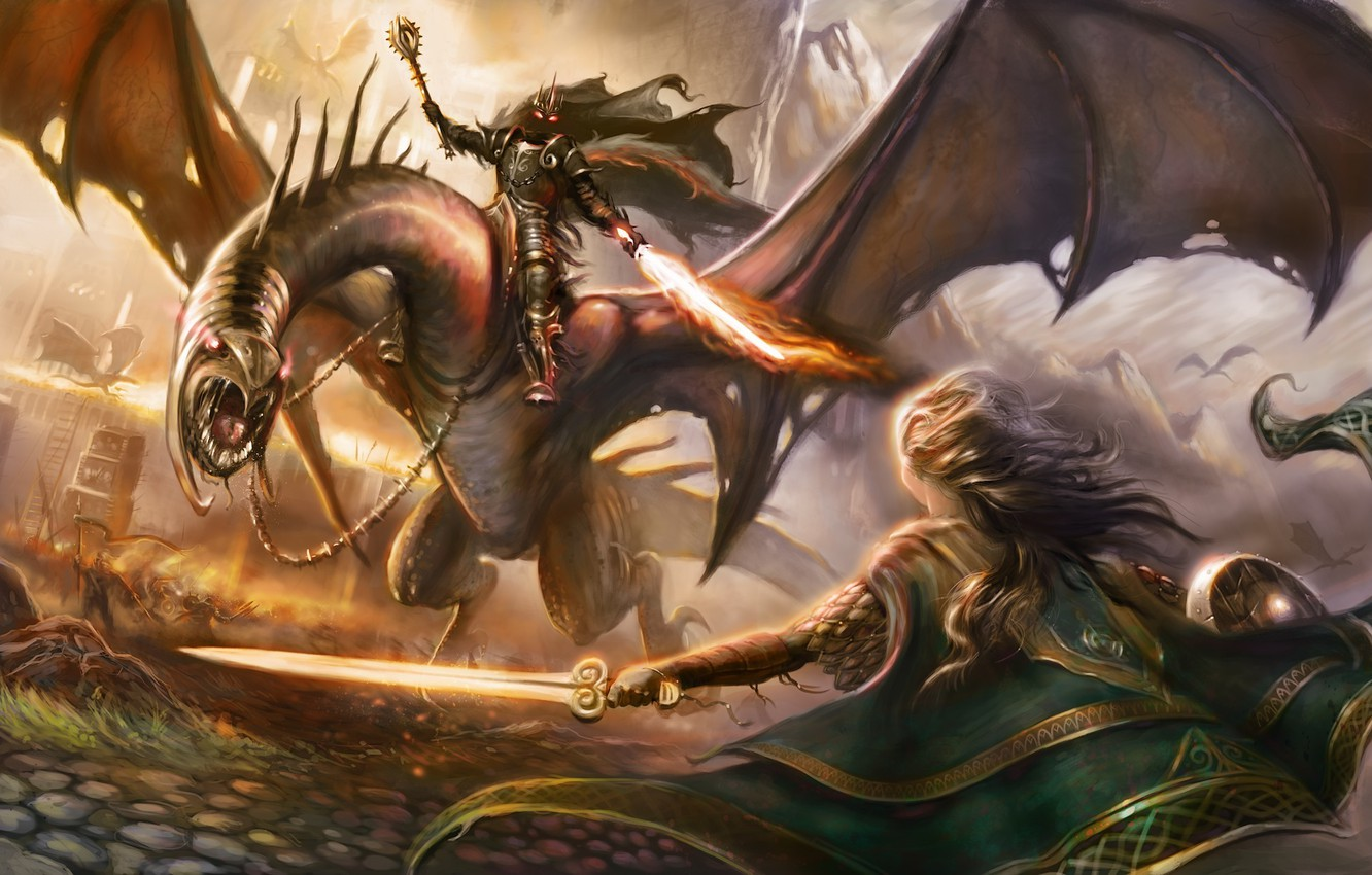 Photo wallpaper weapons, fire, magic, sword, the Lord of the rings, art, lizard, battle, Nazgul, nazgul, the …