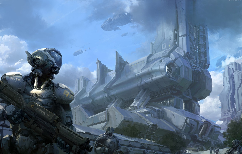 Photo wallpaper clouds, metal, weapons, ships, robots, art, patrol