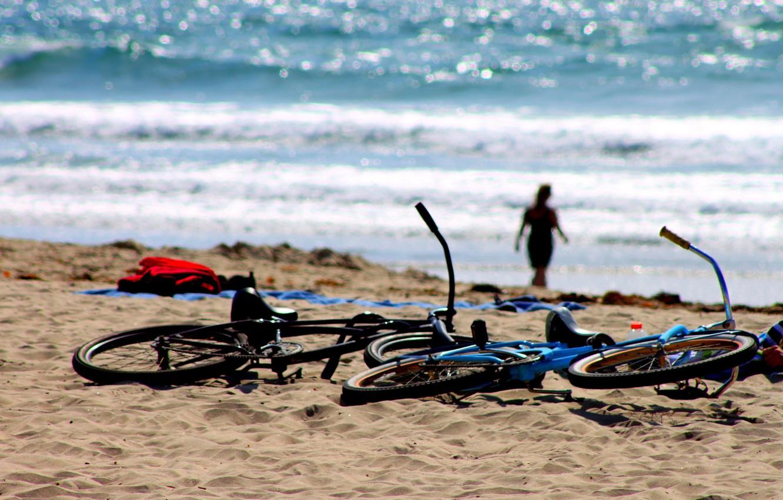 Photo wallpaper sea, beach, stay, silhouette, bikes, halt