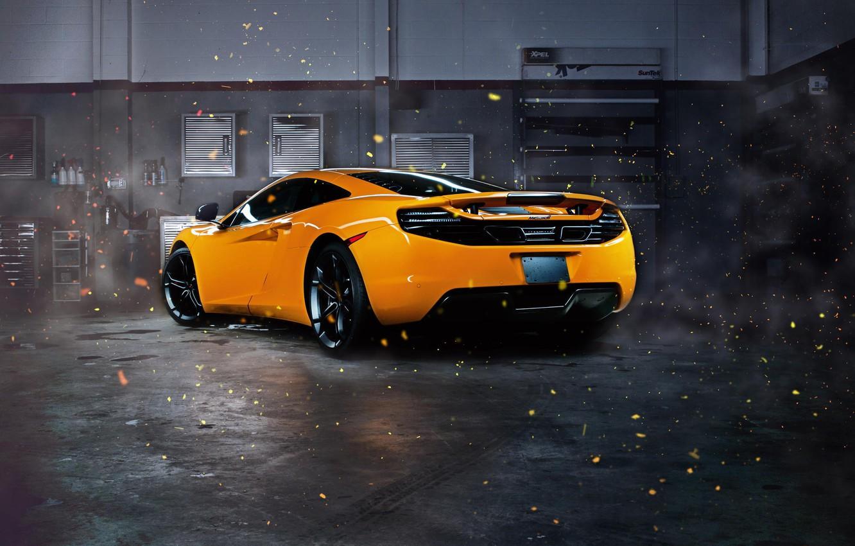 Photo wallpaper McLaren, Orange, MP4-12C, Supercar, Garage, Rear, Sparks