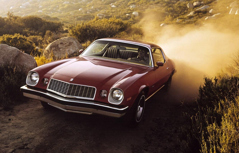 Photo wallpaper dust, Chevrolet, Camaro, Chevrolet, Camaro, Coupe, the front, Sport, 1974