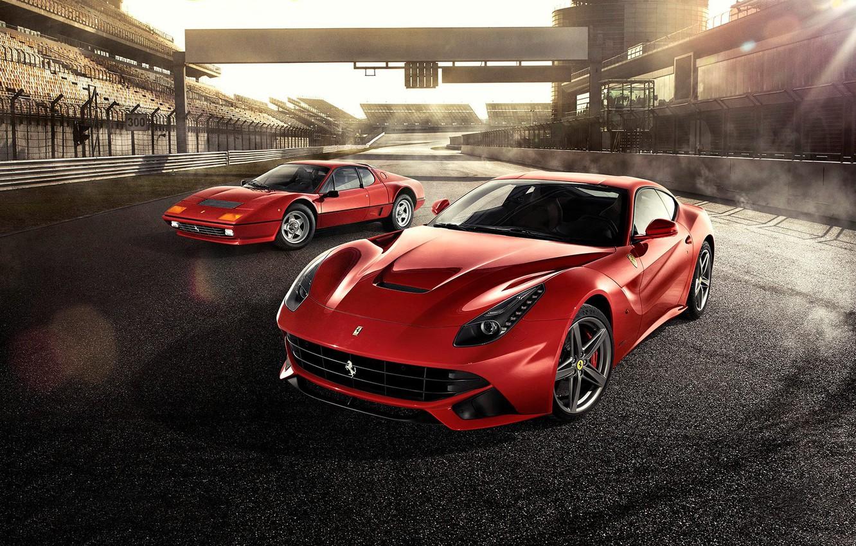 Photo wallpaper Ferrari, Red, Front, Sun, Supercars, Berlinetta, F12, Track, Days, Beam, 512BB