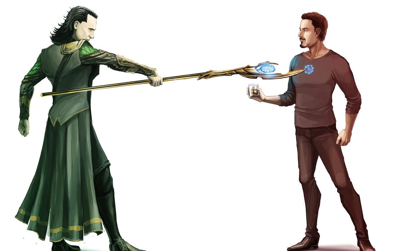 Photo wallpaper Iron Man, Robert Downey ml, Robert Downey Jr., The Avengers, The Avengers, Loki, Tom Hiddleston, …
