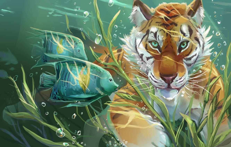Photo wallpaper water, fish, tiger, art, art