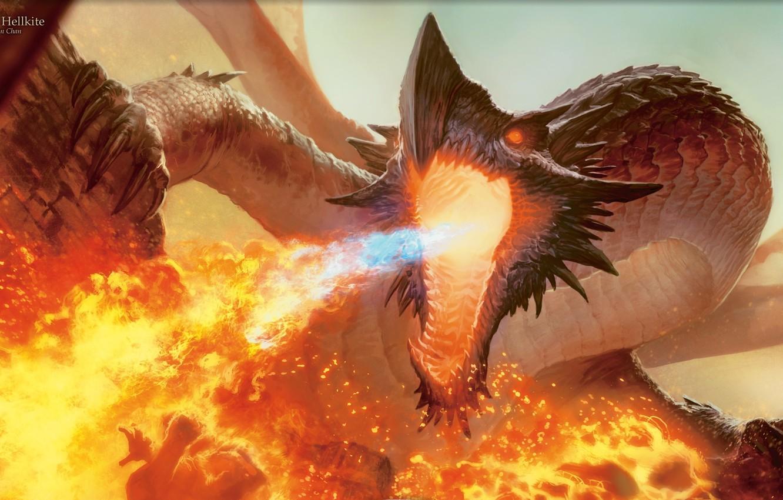 Photo wallpaper flame, Dragon, mouth