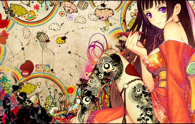 Photo wallpaper girl, anime, tattoo, snyp arts